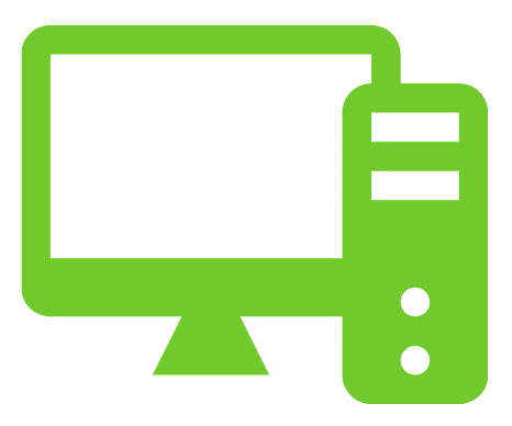 Computer icon in green