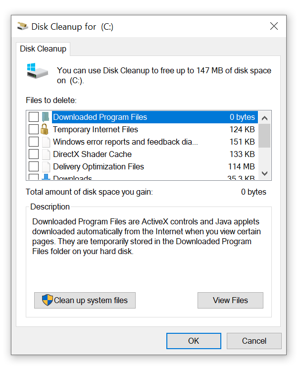 screenshot of cleanup systems files
