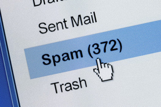 Spam emails in a computer inbox, how to stop spam emails concept