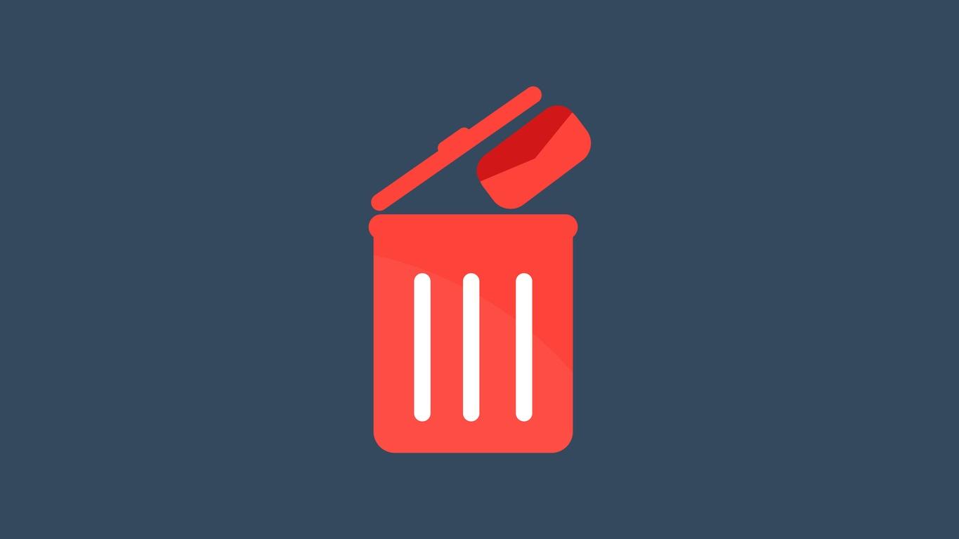 Red trash can icon for junk files