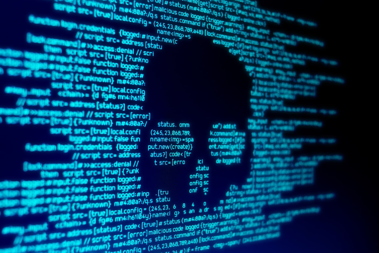 Outline of a skull in computer code, symbolizing how to prevent computer viruses.