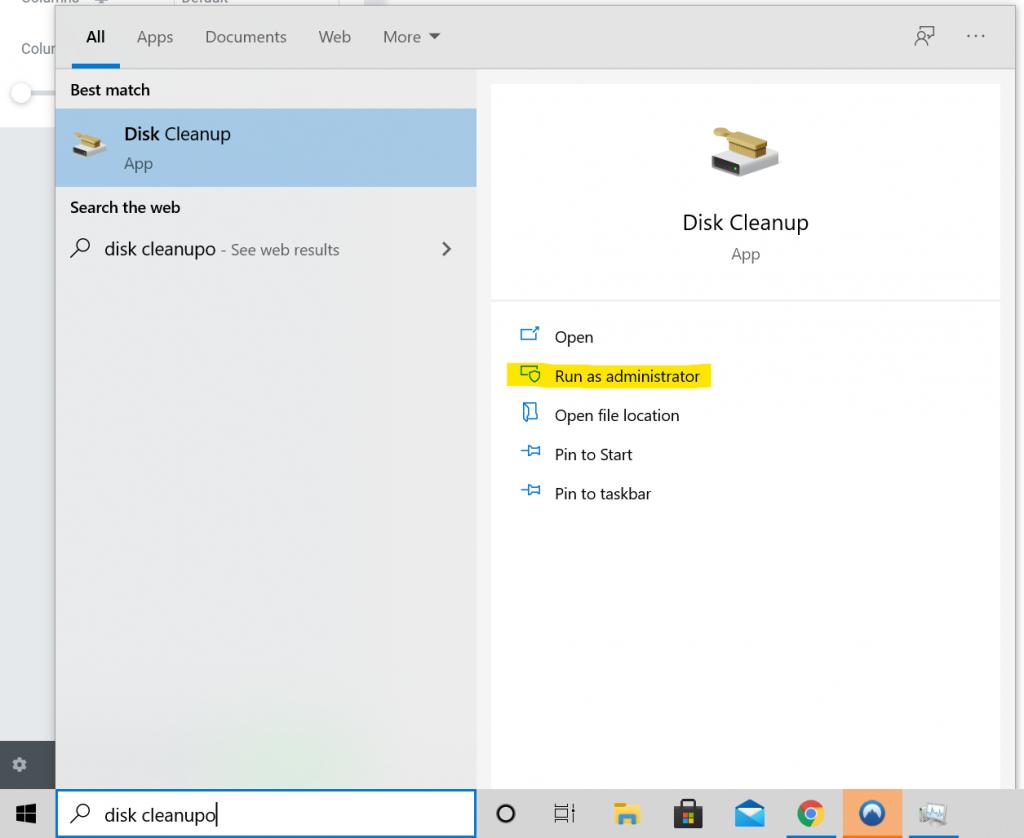 Screenshot of disk cleanup run as administrator