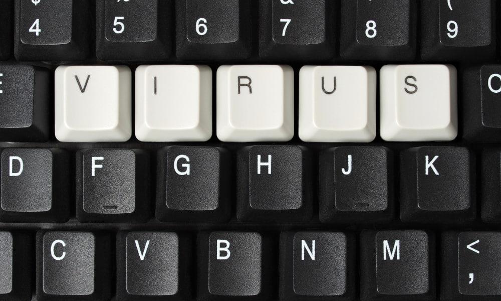 Keyboard that says virus