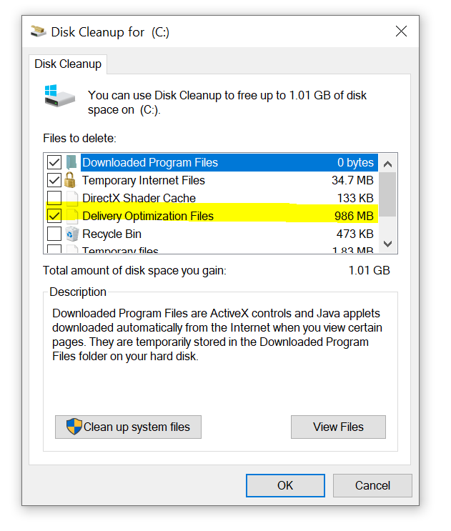 screenshot showing where the delivery optimization files are in a disk cleanup