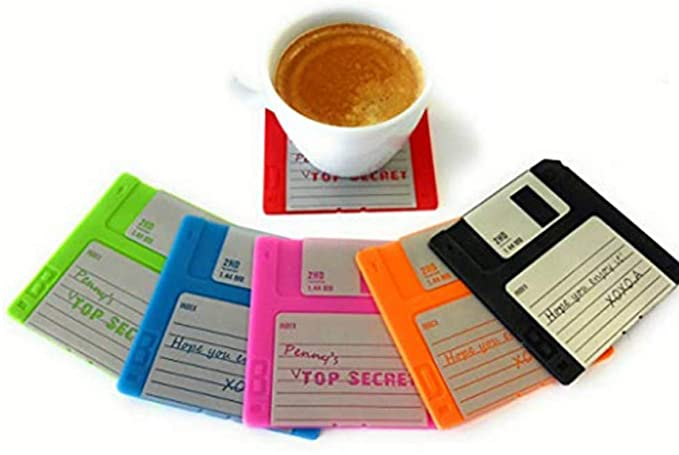 Coffee on a floppy disk coaster