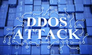 image that said DDOS attack behind tech background