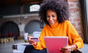 Person using online banks safe