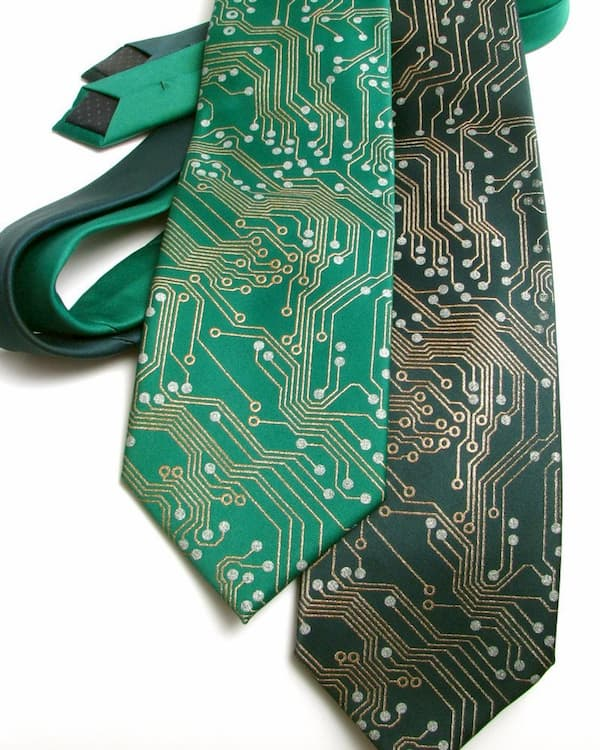 a neck tie with a circuit pattern on it