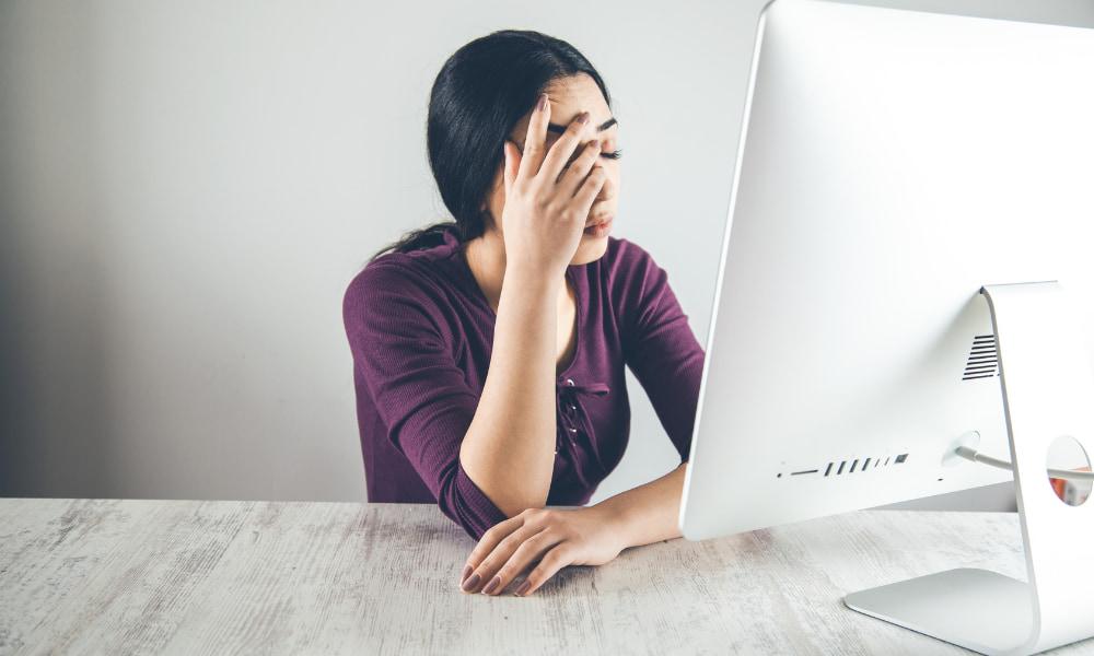 Sad at computer because of the chromium virus