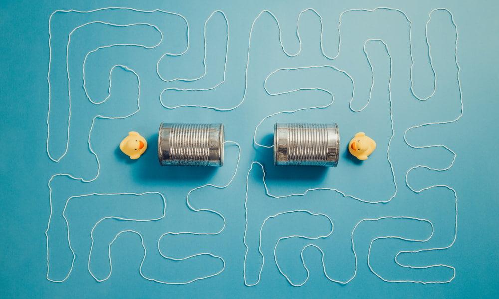 Ducks talking through tin cans