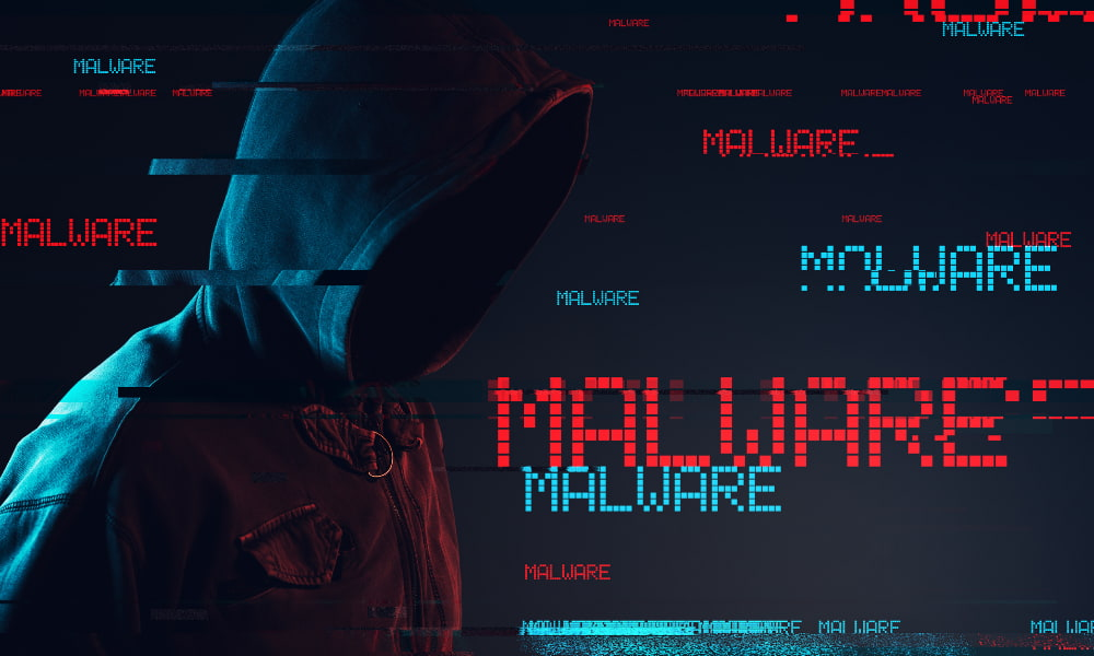 person surrounded by the different types of malware