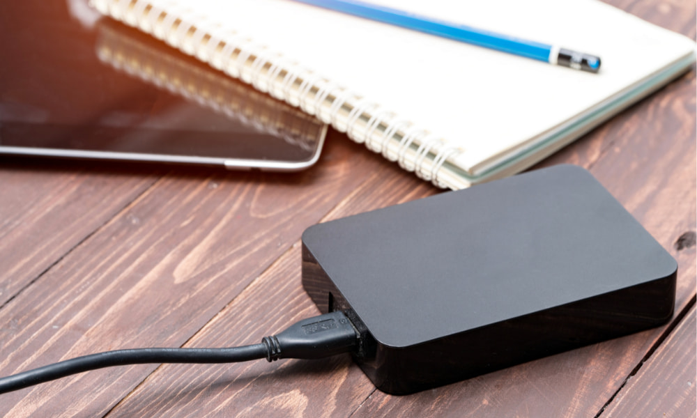 external hard drive being used on a device