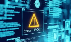 A computer system warning that it has been hacked indicates a cryptojacking attack is underway