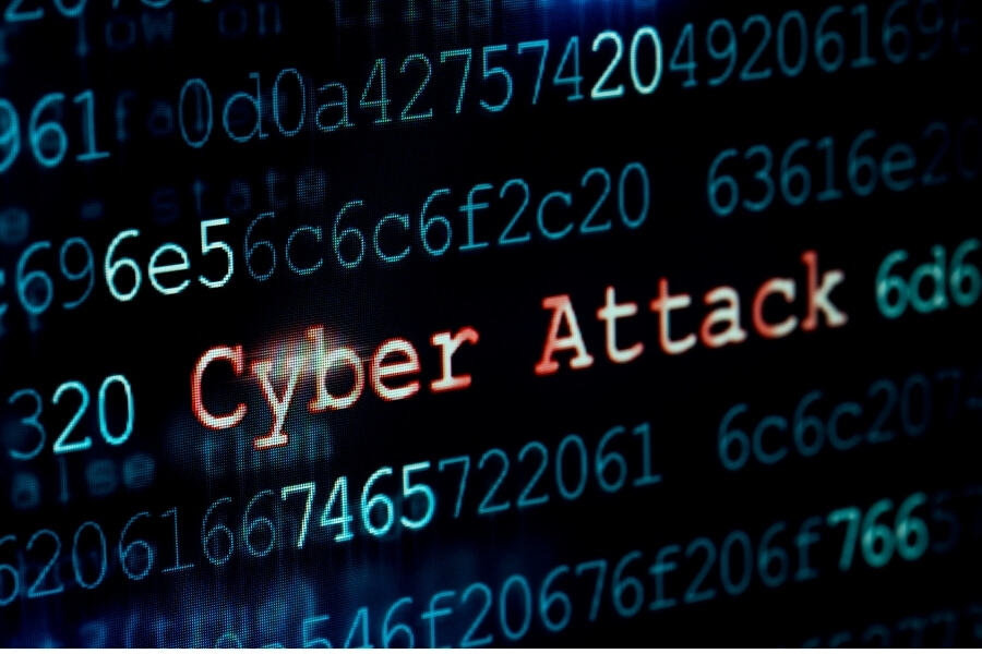 computer code showing that there is a cyber attack in progress