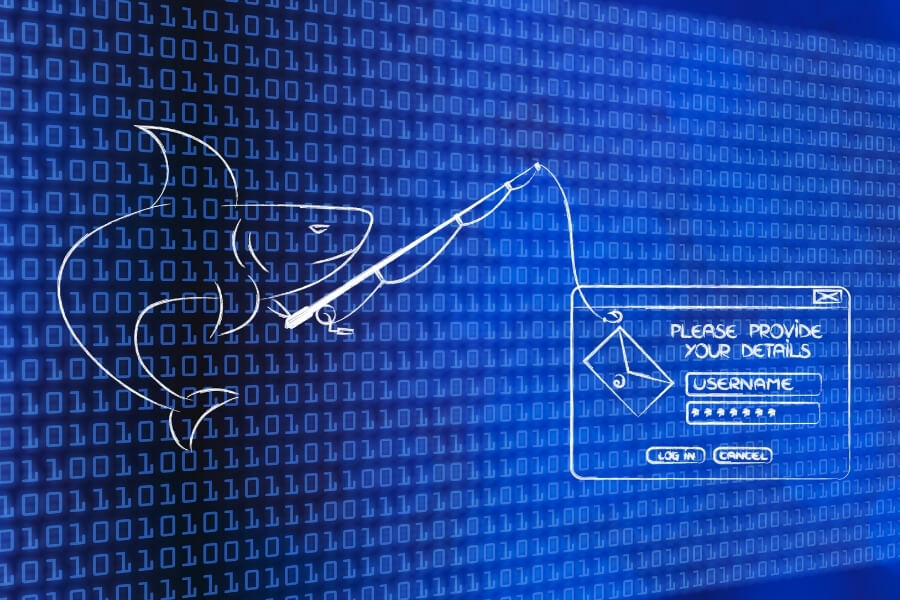 digital shark with a fishing rod leading to a login attempt, representing a whaling attack